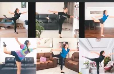 居家隔离期间,圣保罗华星艺术团成员通过视频连线,参与日常训练及交流。 李青霞供图