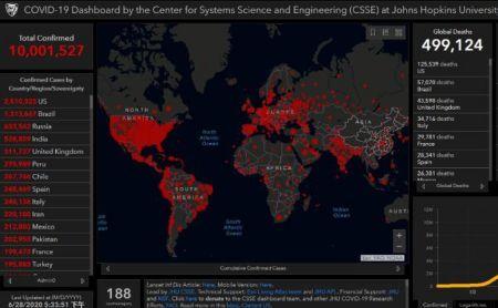 来源:美国约翰斯·霍普金斯大学实时数据网站。