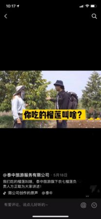 """图为陈王琳公司员工通过直播带货""""榴莲""""。"""