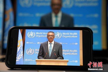 资料图:5月18日,第七十三届世界卫生大会以视频会议形式举行开幕式。图为世卫组织总干事谭德塞致辞。 中新社记者 彭大伟 摄